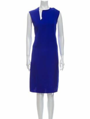 Celine V-Neck Midi Length Dress Blue