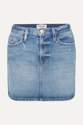 Frame Le Mini Distressed Denim Skirt - Mid denim