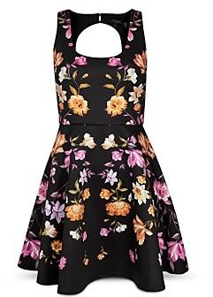 Ted Baker Floral Print Open Back Skater Dress