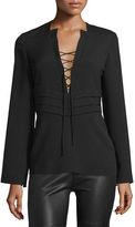 IRO Luana Lace-Front Crepe Top, Black