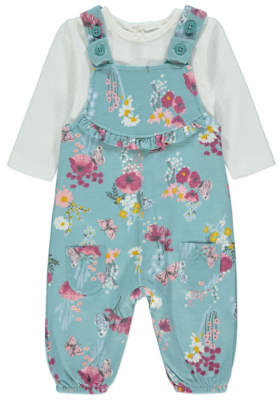 George Blue Floral Print Dungarees and Bodysuit Outfit