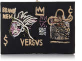 Olympia Le-Tan Olympia Le Tan Basquiat Versvs Appliqued Embroidered Canvas Clutch