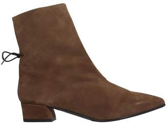 Fabio Rusconi Low Heels Ankle Boots In Brown Suede