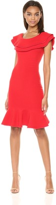 Milly Women's Ribbed Knit Wide Neckline Textured Flounce Dress