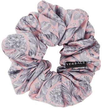 Versace Pink and Grey Silk Barocco Scrunchie