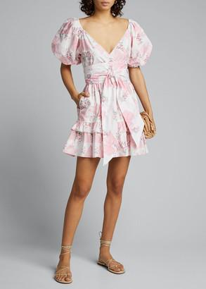 LoveShackFancy Zelle Printed Puff-Sleeve Dress