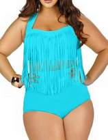 Lekeez Women's Plus Size Tassels Swimsuit Swimwear Bikini Set Two Pieces