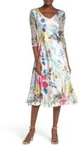 Komarov Petite Women's Lace & Charmeuse A-Line Dress