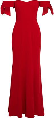 Badgley Mischka Off-the-shoulder Bow-embellished Stretch-crepe Gown