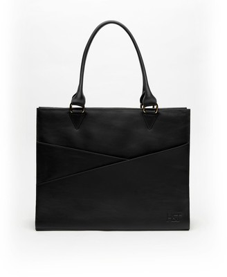 Holly & Tanager Confidante Structured Leather Tote In Black