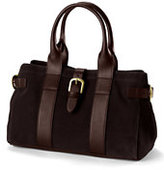 Lands' End Women's Suede and Leather Satchel-Washed Navy