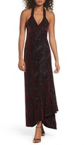 Dress the Population Women's Erica Floral Velvet Wrap Gown