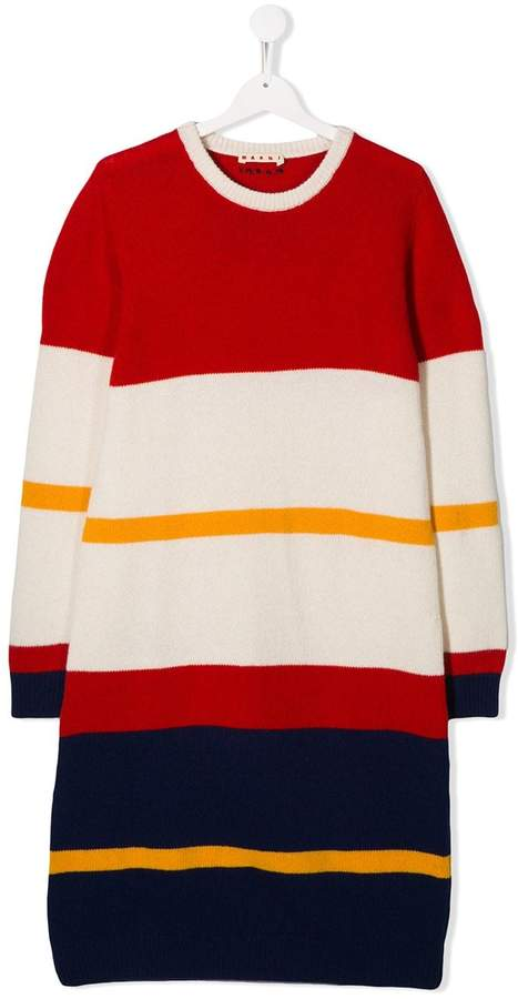 Marni TEEN striped knit dress