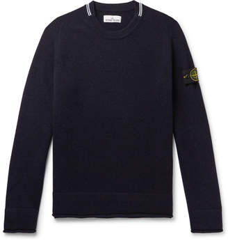 Stone Island Contrast-Tipped Logo-Appliqued Wool-Blend Sweater