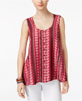 Style&Co. Style & Co Style & Co Petite Printed High-Low Blouse, Created for Macy's