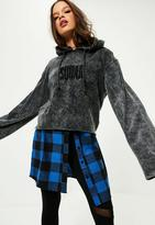 Missguided Washed Squad Slogan Flare Sleeve Hoodie