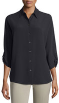 Michael Kors 3/4-Sleeve Button-Front Blouse, Black