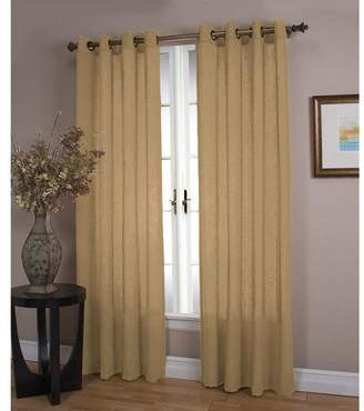 Plow & Hearth Double Width Sheer Linen Single Window Curtain Panel With Grommets, Toffee