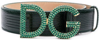 Dolce & Gabbana Snake Embossed Crystal Logo Belt