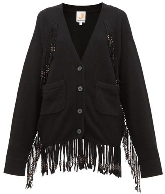 JoosTricot Beaded Fringed Knit Cardigan - Black