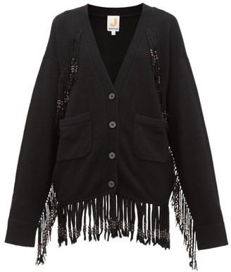 JoosTricot Beaded Fringed Knit Cardigan - Womens - Black