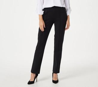Susan Graver Weekend Petite Cotton Spandex Slim-Leg Pull-On Pants
