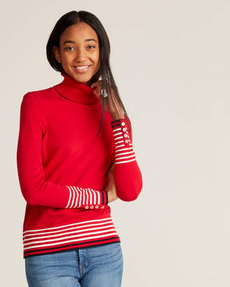 Tommy Hilfiger Stella Placed Stripe Long Sleeve Turtleneck Sweater