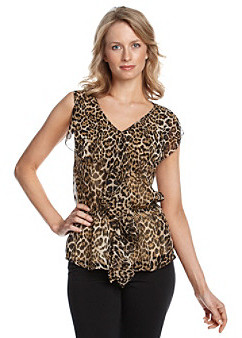 Rafaella Ruffle Front Leopard Print Blouse