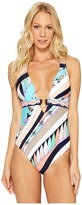 Trina Turk Electric Wave Cross Back One-Piece Swimsuit Women's Swimsuits One Piece