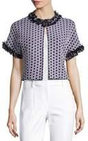 St. John Aadi Tweed Short-Sleeve Jacket, White/Multi