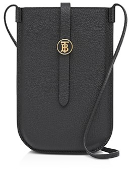 Burberry Grainy Leather Phone Case with Crossbody Strap