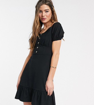 Asos DESIGN Tall cupped off the shoulder tiered mini dress in black