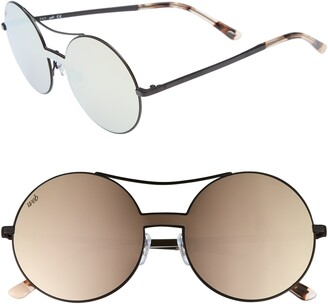 Web 55mm Round Metal Shield Sunglasses