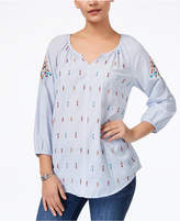 Style&Co. Style & Co Style & Co Petite Cotton Embroidered Striped Peasant Top, Created for Macy's