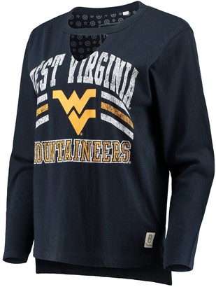 Women's Pressbox Navy West Virginia Mountaineers Scout Choker Long Sleeve T-Shirt
