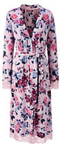 Classic Women's Petite Bracelet Sleeve Knee Length Print Robe-Soft Rose Print