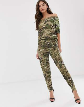 G Star G-Star Namic organic cotton off the shoulder jumpsuit in camo-Multi