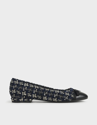 Charles & Keith Tweed Ribbon Tie Ballet Pumps