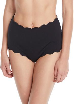 Marysia Swim Santa Monica High-Waist Scalloped Swim Bikini Bottom