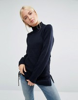 Brave Soul Sweater With Lace Up Side