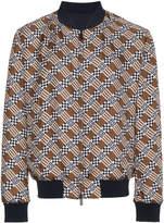 Fendi logo print reversible silk bomber jacket
