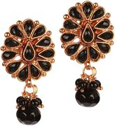 Exotic India Flower Earrings - Copper Alloy with Cut Glass