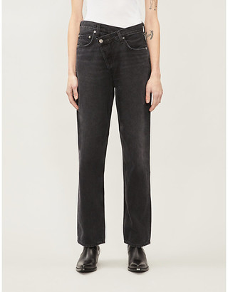 A Gold E AGOLDE Criss Cross asymmetric-waist high-rise jeans