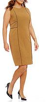 Kasper Plus Contrast-Trim Sheath Dress