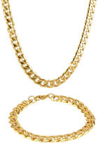 JCPenney FINE JEWELRY Mens Stainless Steel & Gold-Tone IP 10mm Curb Chain & Bracelet Boxed Set