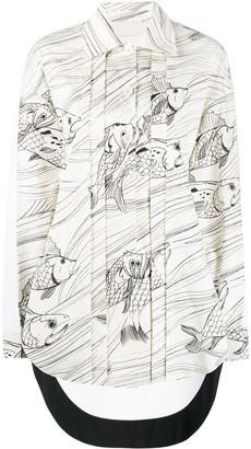 Jil Sander Fish Print Long Sleeve Shirt