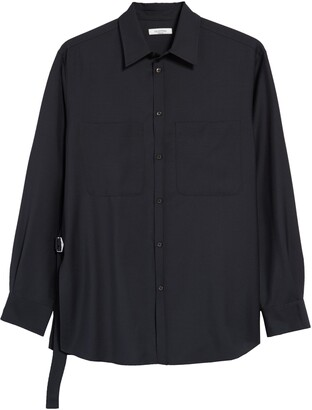 Valentino Side Tie Wool & Mohair Men's Button-Up Shirt