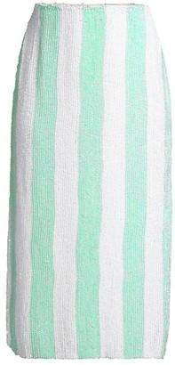 retrofete Veronica Striped Midi Skirt