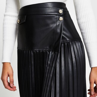 River Island Womens Black wrap front pleated midi skirt