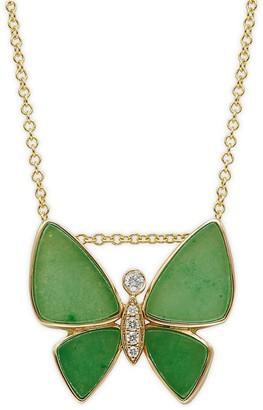 Effy 14K Yellow Gold, Jade Diamond Butterfly Pendant Necklace
